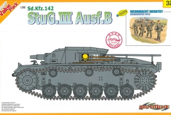 Model Kit tank 9132 - StuG.III Ausf.B + WEHRMACHT INFANTRY (w/Magic Track) (1:35)